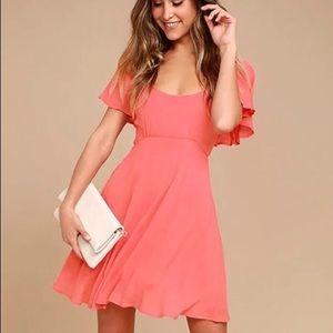 Lulu's Black Swan Cameron Coral Pink Skater Dress